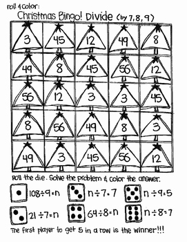 Roll and Color CHRISTMAS BINGO:  Divide to Find n