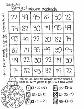 Roll and Color CHRISTMAS STYLE:  Double Digit Subtraction (with NO regrouping)
