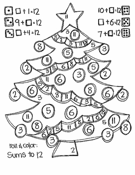 Roll and Color CHRISTMAS STYLE: Missing Addends for ADDITION