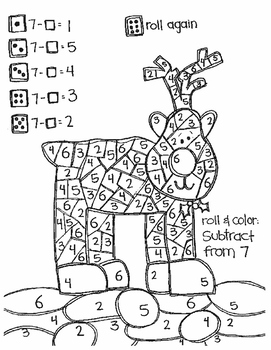 Roll and Color CHRISTMAS STYLE:  Missing Addends for SUBTRACTION