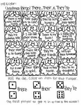Roll and Color Christmas Bingo:  Language Arts