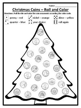 Roll And Color Christmas Tree Math Game Money Coins Christmas