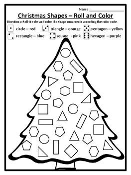 Roll and Color Christmas Tree Math Game Shapes Christmas Math ...