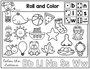 Roll and Color or Colour - Introducing Beginning Sounds