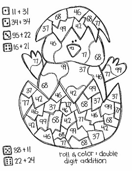 Roll and Color EASTER STYLE:  Double Digit Addition