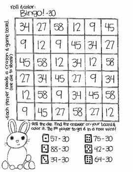 Roll and Color EASTER STYLE:  Double Digit Subtraction