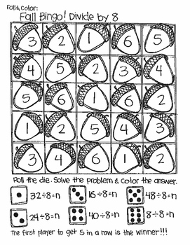 Roll and Color FALL BINGO:  Divide to Find n