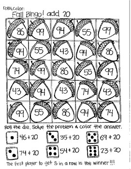 Roll and Color FALL BINGO:  Double Digit Addition (with NO regrouping)