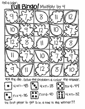 Roll and Color FALL BINGO:  Multiply to Find n