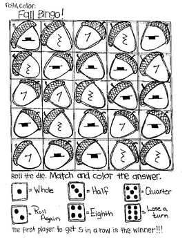 Roll and Color FALL BINGO:  Notation