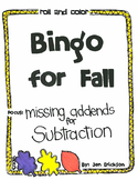 Roll and Color Fall Bingo:  Missing Addends for SUBTRACTION