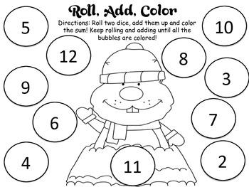 Roll and Color - Groundhog Theme
