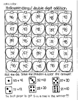 Roll and Color HALLOWEEN BINGO:  Double Digit Addition (with NO regrouping)