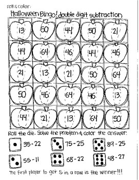 Roll and Color HALLOWEEN BINGO:  Double Digit Subtraction (with NO regrouping)