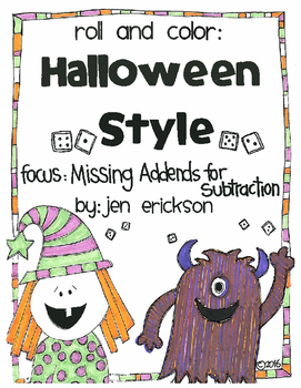Roll and Color HALLOWEEN STYLE:  Missing Addends for SUBTRACTION