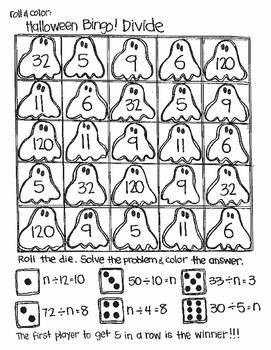 Roll and Color Halloween Bingo: Division (find n)