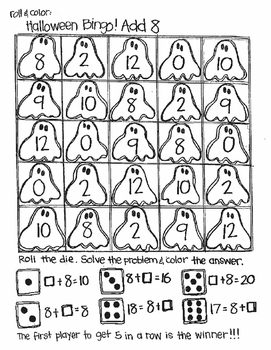 Roll and Color Halloween Bingo:  Missing Addends for Addition