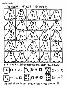Roll and Color Halloween Bingo: Missing Addends for Subtraction