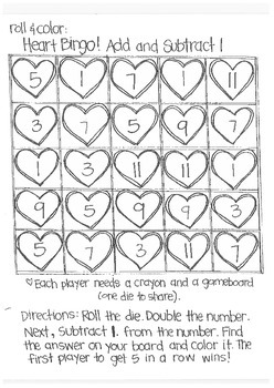 Roll and Color:  Heart Bingo! (Add and Subtract)