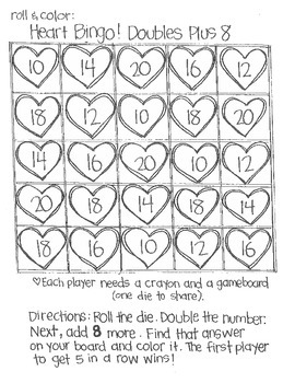 Roll and Color:  Heart Bingo! (Doubles)