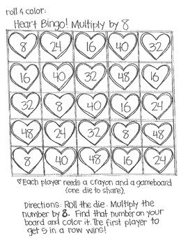 Roll and Color:  Heart Bingo! (Multiplication)