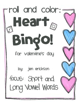 Roll and Color:  Heart Bingo! (Short and Long Vowel Words)