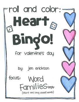 Roll and Color:  Heart Bingo! (Word Families)