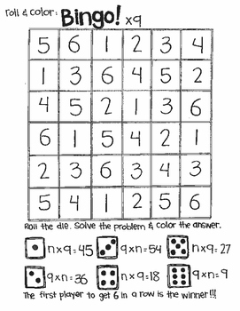 Roll and Color MATH BINGO:  FIND N for MULTIPLICATION