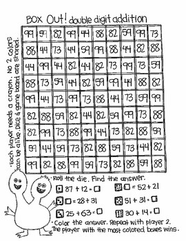Roll and Color MONSTER MATH:  Double Digit Addition (with NO regrouping)