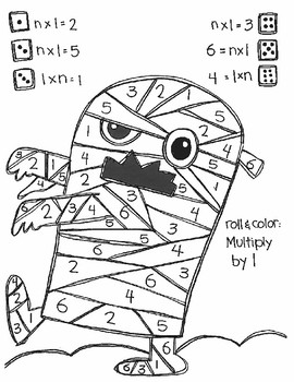 Roll and Color MONSTER MATH:  Multiply to Find n