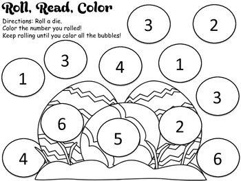 Roll and Color Math -  Easter Theme