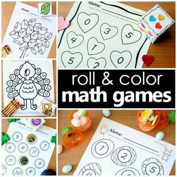 Roll and Color Math Games Bundle