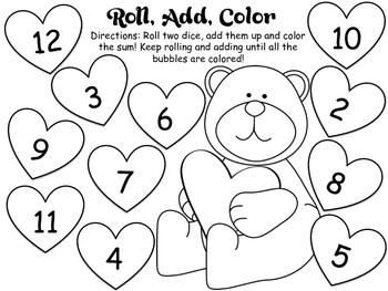 Roll and Color Math - Valentine's Day Theme