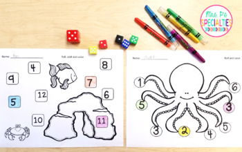 Roll and Color Ocean Theme Math Center- FREEBIE!!
