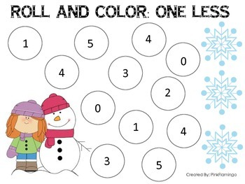 Roll and Color One Less