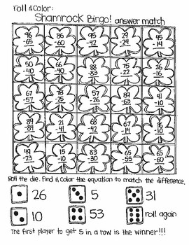 Roll and Color SHAMROCK BINGO:  Double Digit Subtraction (with NO regrouping)