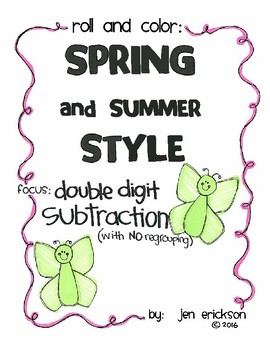 Roll and Color SPRING AND SUMMER STYLE:  Double Digit Subtraction