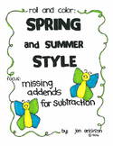 Roll and Color SPRING AND SUMMER STYLE:  Missing Addends for Subtraction