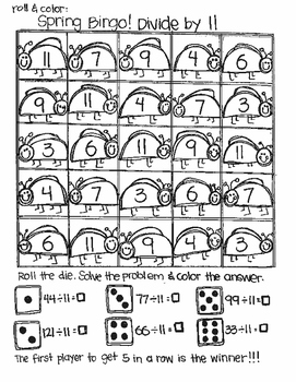 Roll and Color SPRING BINGO:  Division
