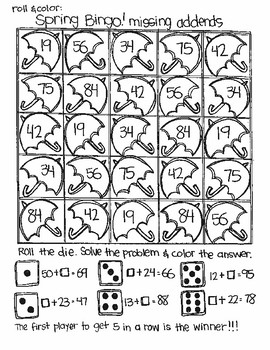 Roll and Color SPRING BINGO:  Double Digit Addition (with NO regrouping)