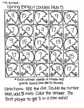 Roll and Color SPRING BINGO:  Doubles and Doubles Plus