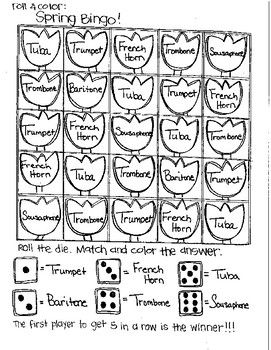 Roll and Color SPRING BINGO:  Instrument Families