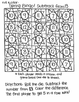 Roll and Color SPRING BINGO:  Subtraction