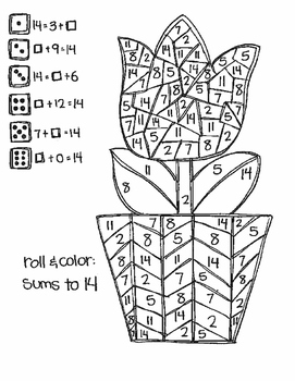 Roll and Color SPRING and SUMMER STYLE:  Missing Addends for Addition
