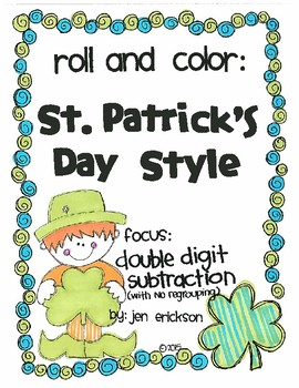 Roll and Color ST. PASTRICK'S DAY STYLE:  Double Digit Subtraction