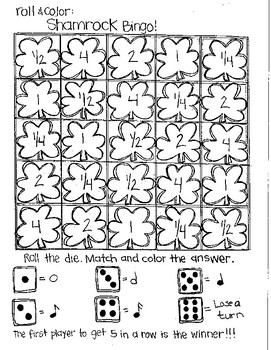 Roll and Color ST. PATRICK'S DAY BINGO:  Notation