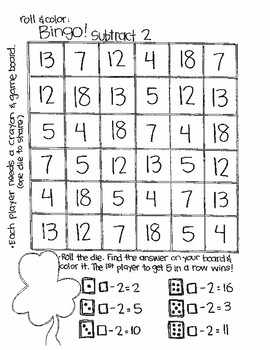 Roll and Color ST. PATRICK'S DAY STYLE:  Missing Parts for Subtraction