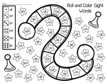 Roll and Color Sight Words