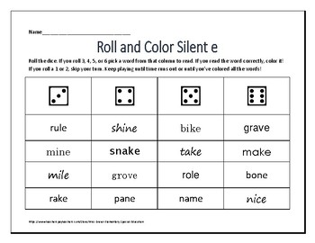 Roll and Color Silent e