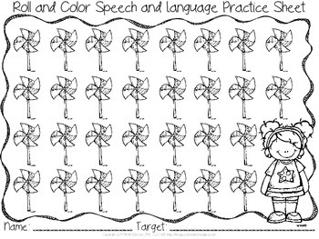 Roll and Color - Spring and Summer Themed Articulation and Language Reinforcers
